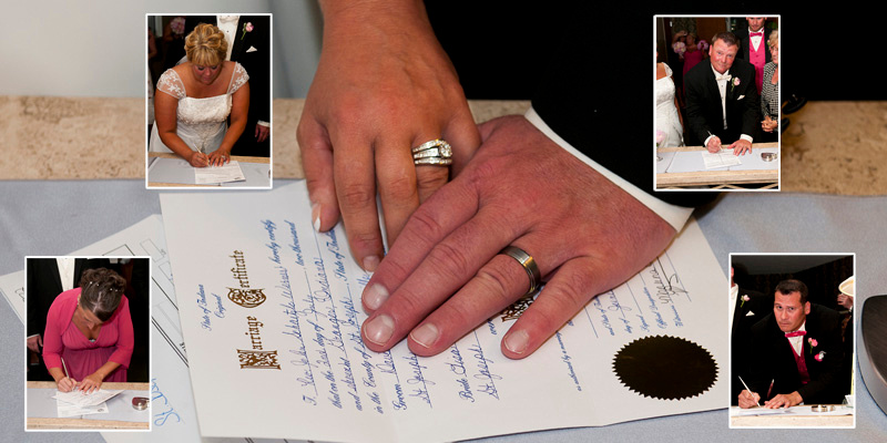 photographing the wedding marriage license